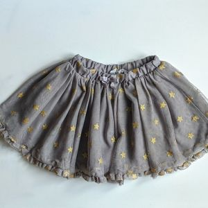 H&M Grey Tulle Tutu Gold Stars Skirt Girl 3-4 Y